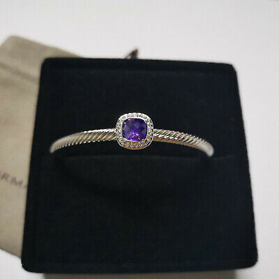 David Yurman Cable Cuff Bracelet with Amethyst and Diamonds Sterling Silver 4mm