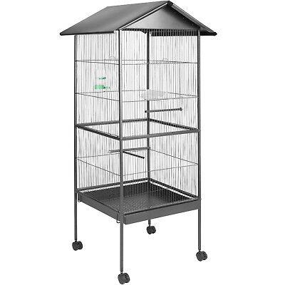Volière, Cage à Oiseaux 162cm de haut Metallique sur Roulettes Abri pour Canaris