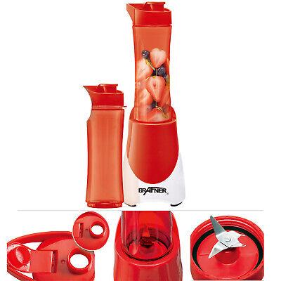 Grafner Smoothie Maker inkl 2x 600ml Trinkflasche to go Shaker Standmixer Mixer (Roter Smoothie Mixer)