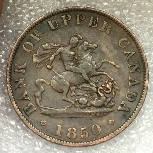 1850 Upper Canada  Half 1/2 Penny St George Dragon Slayer Copper Token Breton
