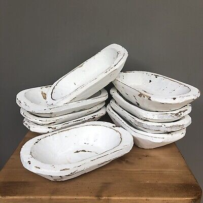 Rustic Hand Carved Wooden Dish - Petite White Wooden Bowl - £18 Each