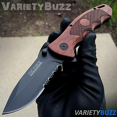 Black Rescue Blade - BROWN WOOD EDC POCKET KNIFE Tactical Spring Assisted Folding Blade Black Rescue