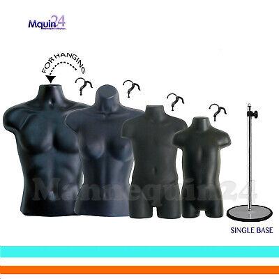 Male Female Child Toddler Torso Mannequin Forms Set Black 1 Stand 4 Hangers
