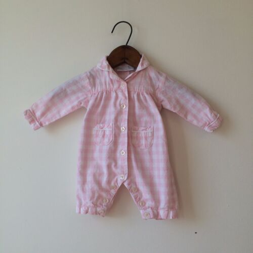 The Little White Company Pink White Check Gingham Romper Sz 0-3 M PERFECT