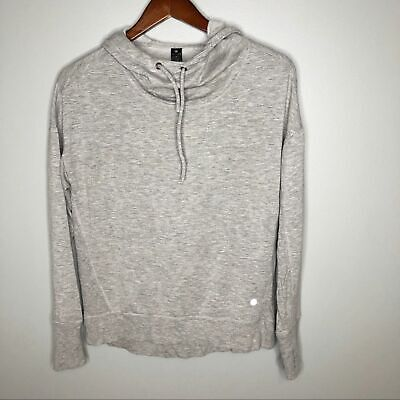 Yogalicious Gray slouchy yoga hoodie sweatshirt stretchy soft hooded size small