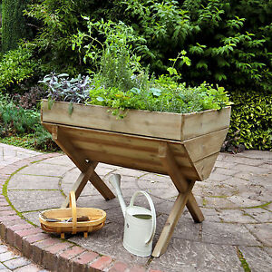 Wooden Garden Planter Outdoor Tall Trough Patio Flowers Herb Vegetables Fruits
