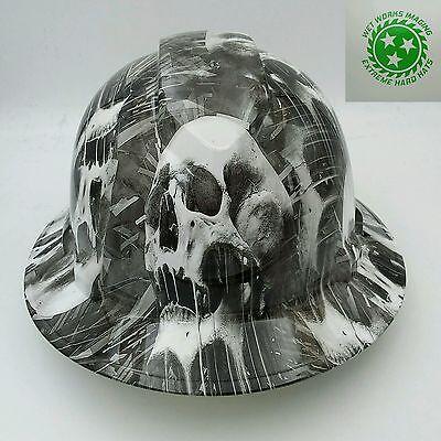 Hard Hat FULL BRIM custom hydro dipped , OSHA approved MELTING SKULLS NEW