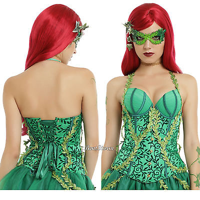 DC Comics Poison Ivy Lace Up Corset  Green Satin 3D Vines Costume Cosplay S & M (Green Corset Poison Ivy)