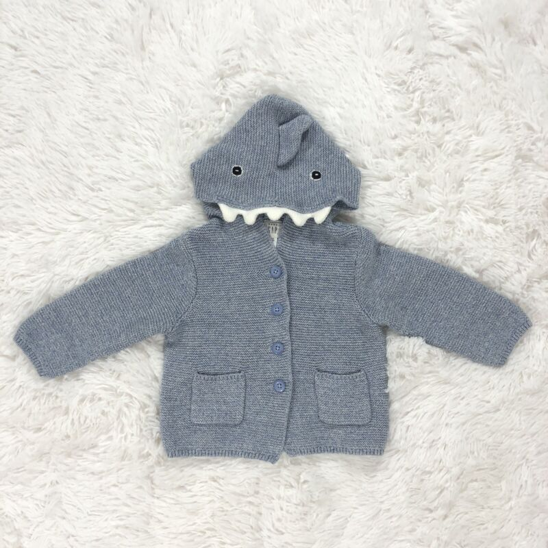 Baby Gap 12-18M Hooded Sweater Cardigan Shark Blue Infant Boy Toddler Button