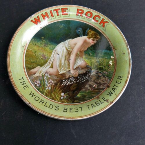 VINTAGE TIP TRAY - WHITE ROCK TABLE WATER with LADY