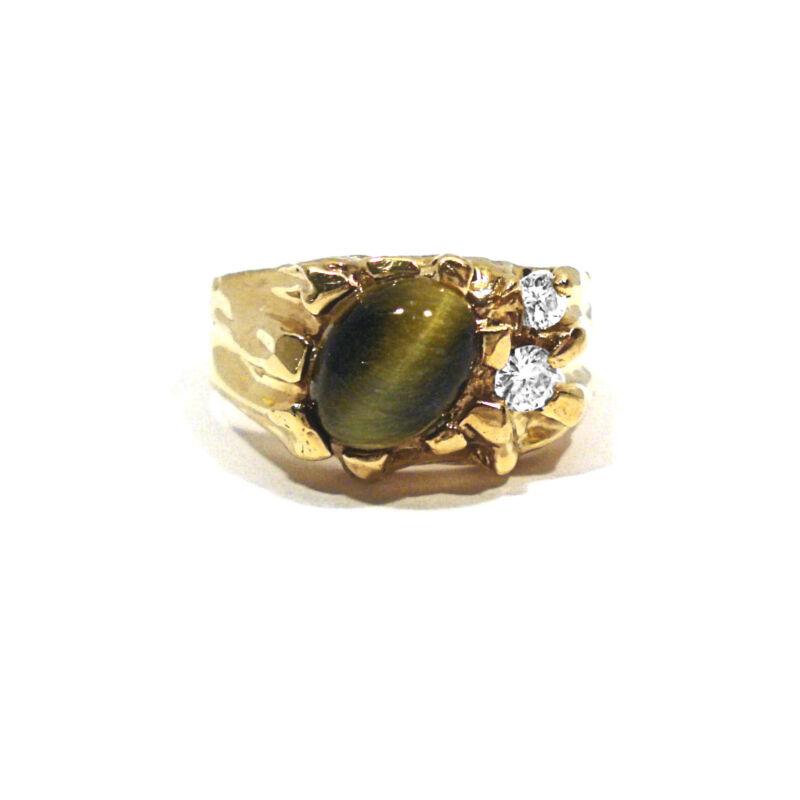 SOLID 14K YELLOW GOLD TIGER EYE & DIAMONDS RING ~ SIZE 7 1/2