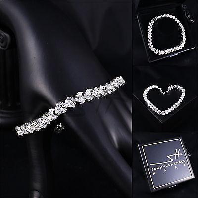Edles Armband, Bracelet *Cubic Zirkonia* Weißgold pl, Swarovski Elements, +Etui