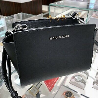 Michael Kors Selma Medium Messenger Saffiano Leather Crossbody Bag Black
