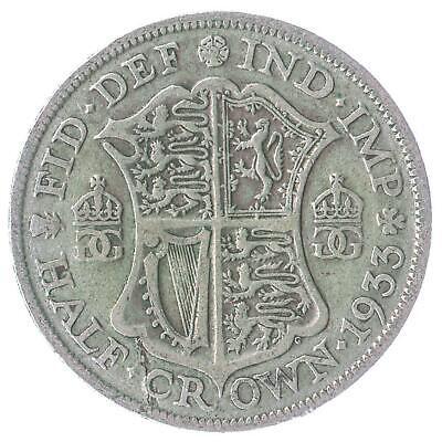 BRITISH 1/2 CROWN SILVER COIN - KING GEORGE V. ENGLISH MONEY 1927-1936 KM# 835