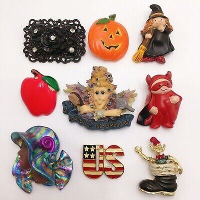 Vintage To Now Halloween Lady Enamel Clown Brooch Pin Costume Jewelry Lot