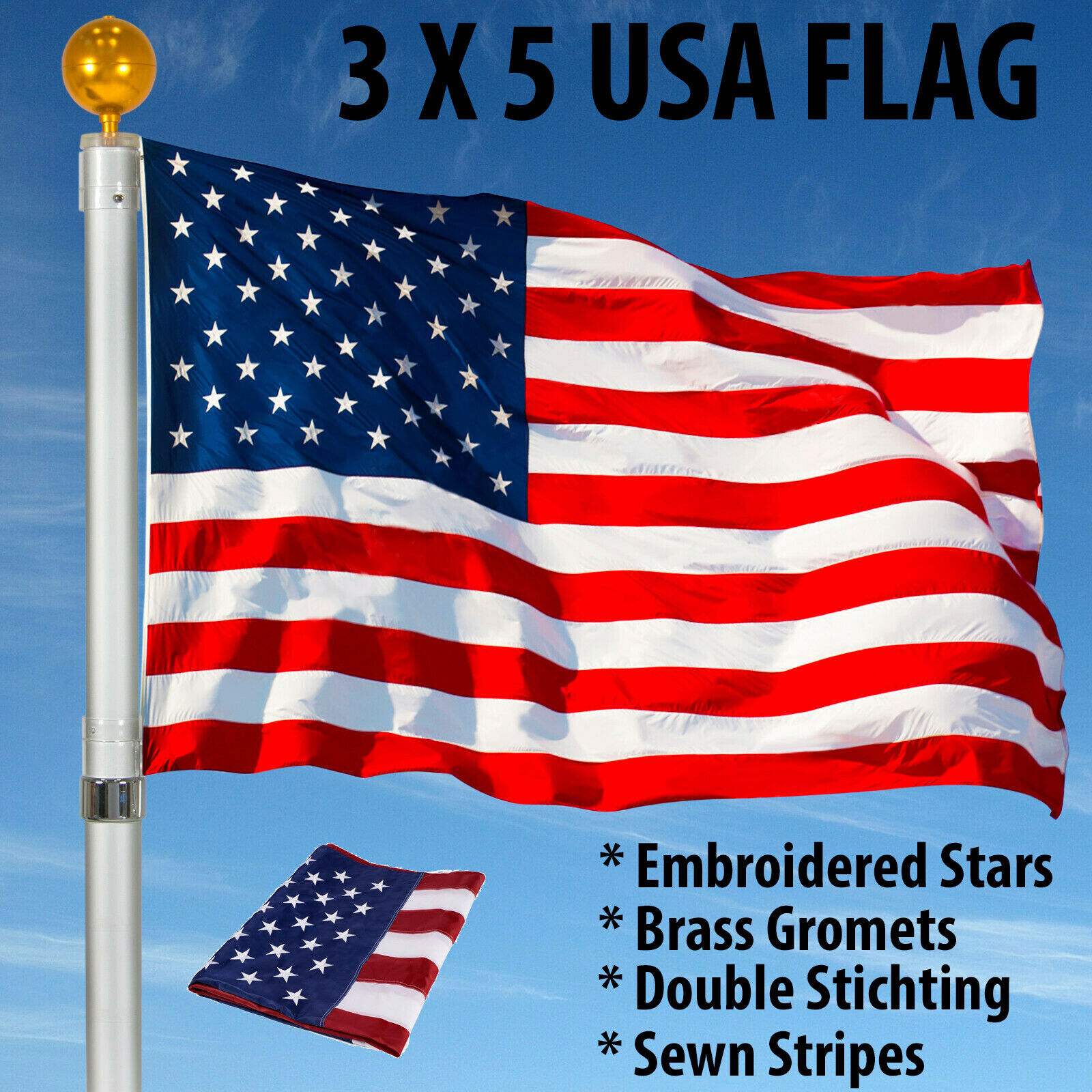 3'X5′ ft American Flag US USA | EMBROIDERED Stars| Sewn Stripes| Brass Grommets Collectibles