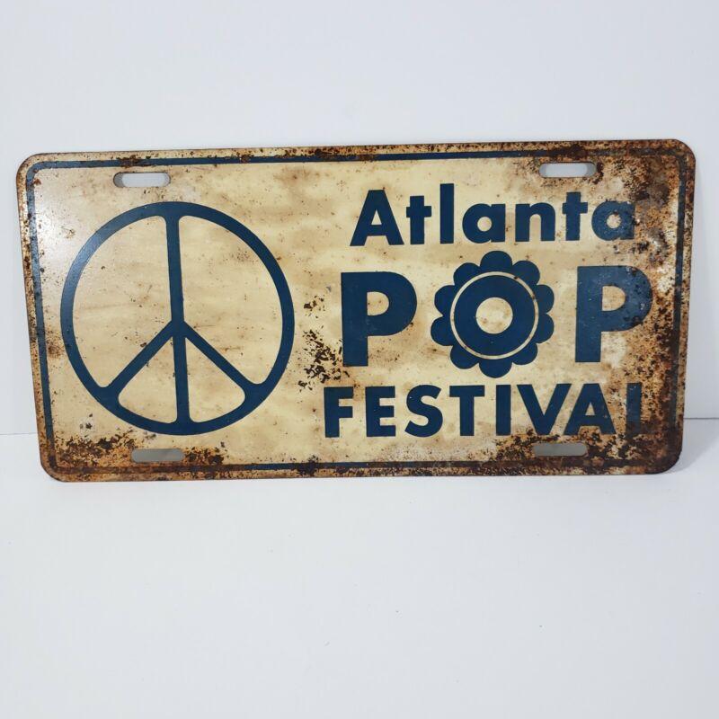 1970 ATLANTA Pop Festival Original Promo PEACE Sign License Plate