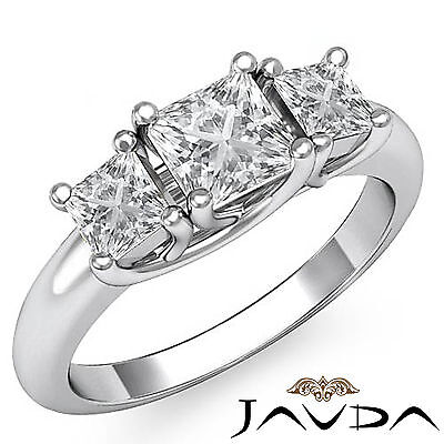 3 Stone Trellis Style Princess Diamond Engagement Ring GIA I SI1 Clarity 1.8 Ct