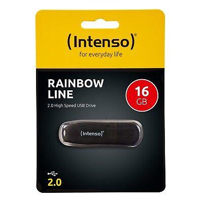 Intenso Rainbow Line 2.0 USB Stick 16 GB Speicherstick 16GB schwarz 3502470 OVP ()