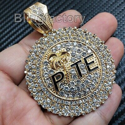 HIP HOP BLING RAPPER'S FULL ICED OUT GOLD PLATED LARGE PTE CHARM PENDANT (Bling Hip Hop Rapper Jewelry)