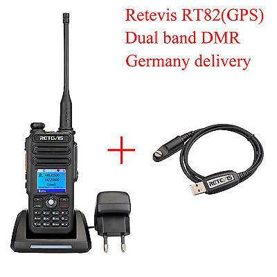 GPS DMR-Funkgeräte Retevis RT82 Dual Band 2m/70cm 3000CH Walkie Talkie+USB Cable