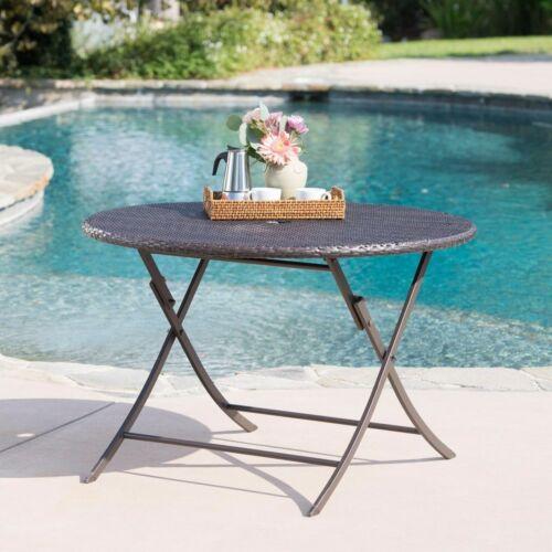 Riley Outdoor Multi-brown Wicker Circular Foldable Dining Table Home & Garden