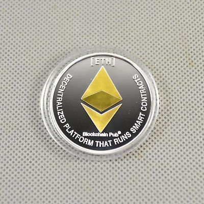 Hot! Gold & Silver Plated Commemorative Collectible Iron ETH Ethereum Miner Coin