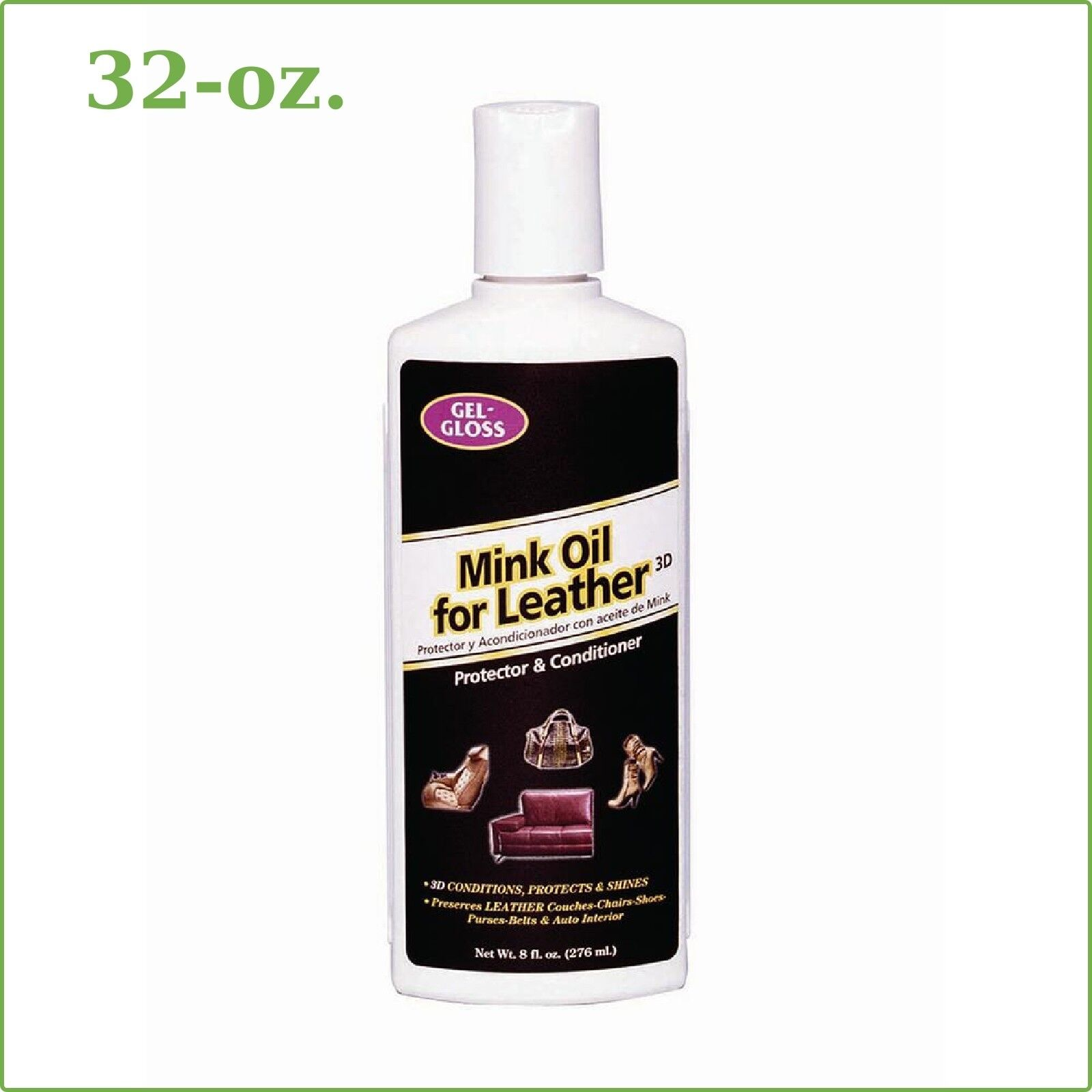 MINK OIL LEATHER PROTECTOR Gel Gloss Conditioner 8-oz. Couch