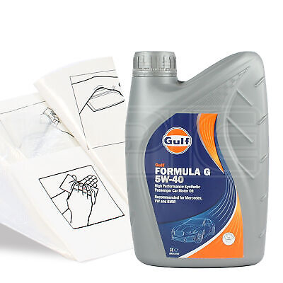 Engine Oil Top Up 1 LITRE Gulf Formula G 5W-40 5W40 1L +Gloves,Wipes,Funnel