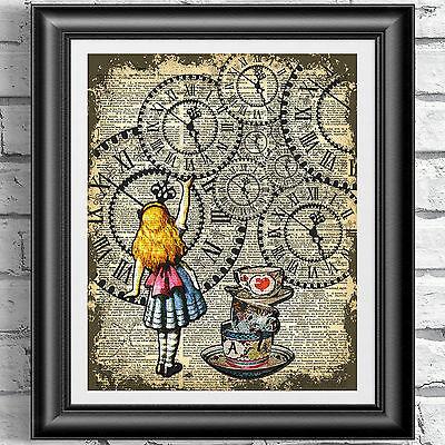 ART PRINT ON ORIGINAL ANTIQUE BOOK PAGE Vintage Alice in Wonderland Dictionary