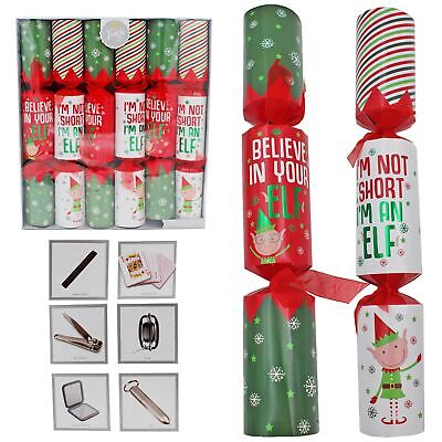 Christmas - Luxury Crackers - Novelty Elf Design - Pack of 6 (Christmas Crackers)