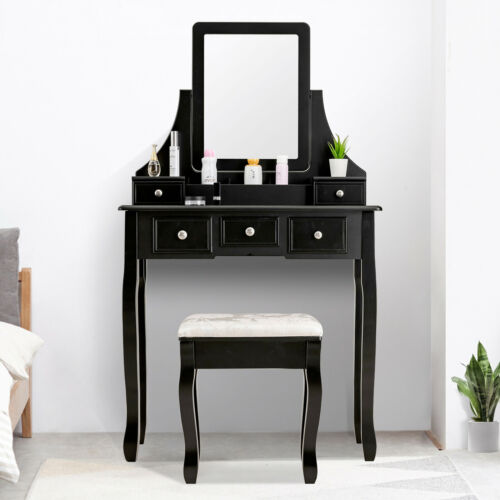 5 Drawers 1 Mirror Vanity Makeup Dressing Table Set With Sto