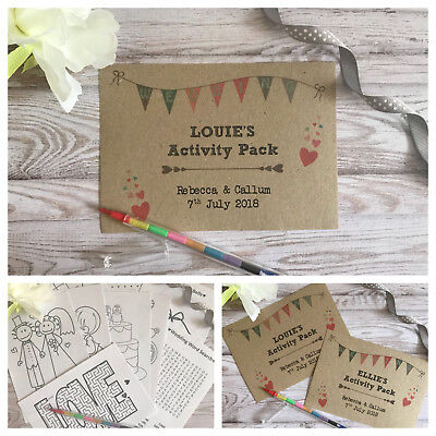 CHILDRENS PERSONALISED A6 WEDDING ACTIVITY PACK BOOK BAG GIFT FAVOUR HEART BROWN