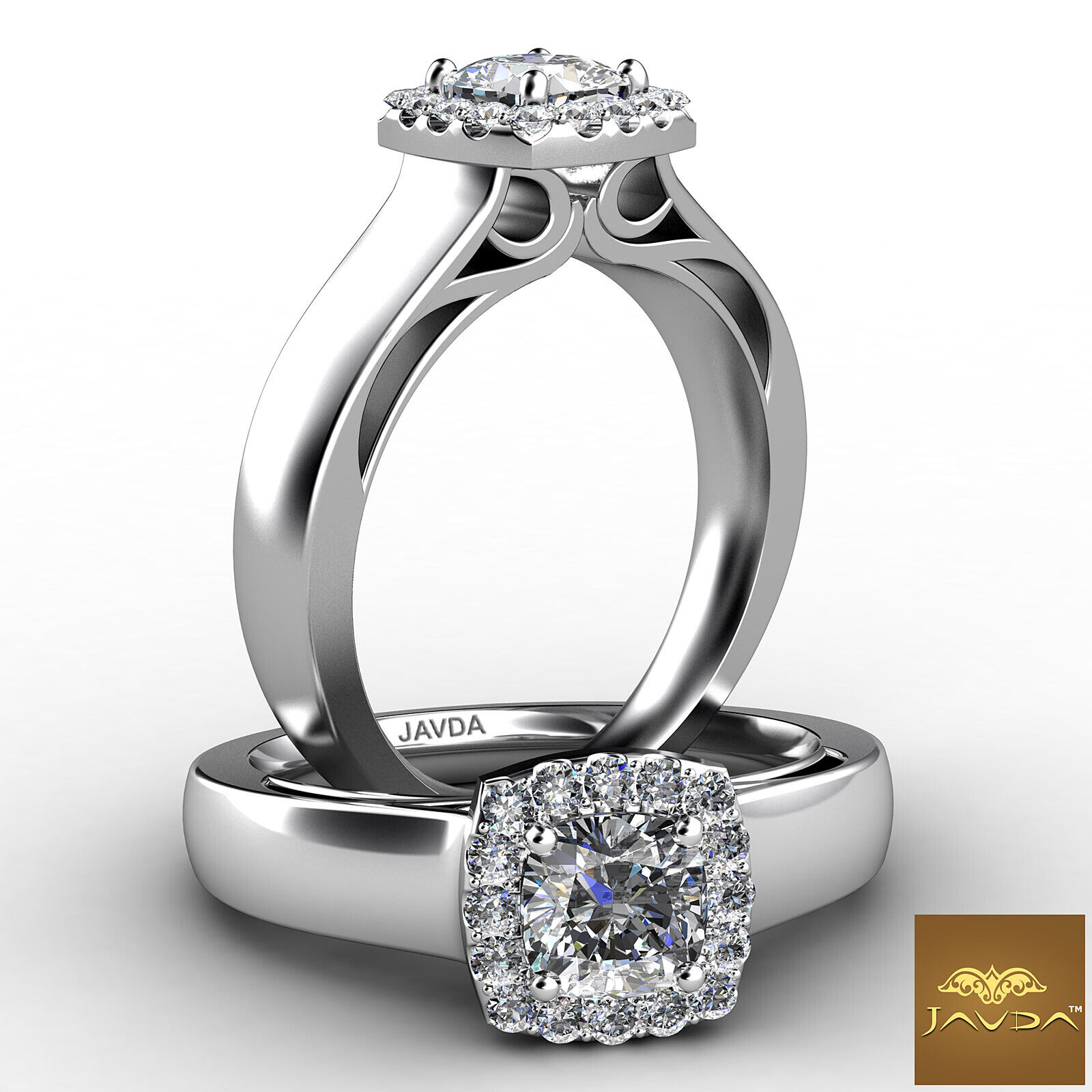 Cushion Cut Diamond Engagement Halo Pave Set Ring GIA H VS1 18k White Gold 0.7Ct