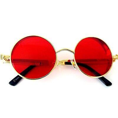Retro Metallic Gothic Steampunk John Lennon Round Red Sunglasses Gold Tone Frame (Red John Sonnenbrille)