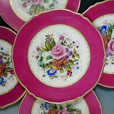 Antique French Limoges Porcelain Hand Painted Pink Dessert Plates Tray Set Gold Hand Painted Dessert
