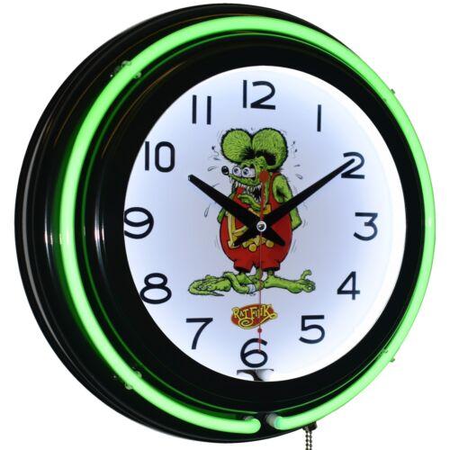 "15"" Rat Fink Green Double Neon Clock Man Cave Decor (BK)"