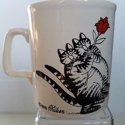 Vintage B Kliban Cats Coffee Cup Mug 1979 Kiln Craft Holding Red Flower Rose