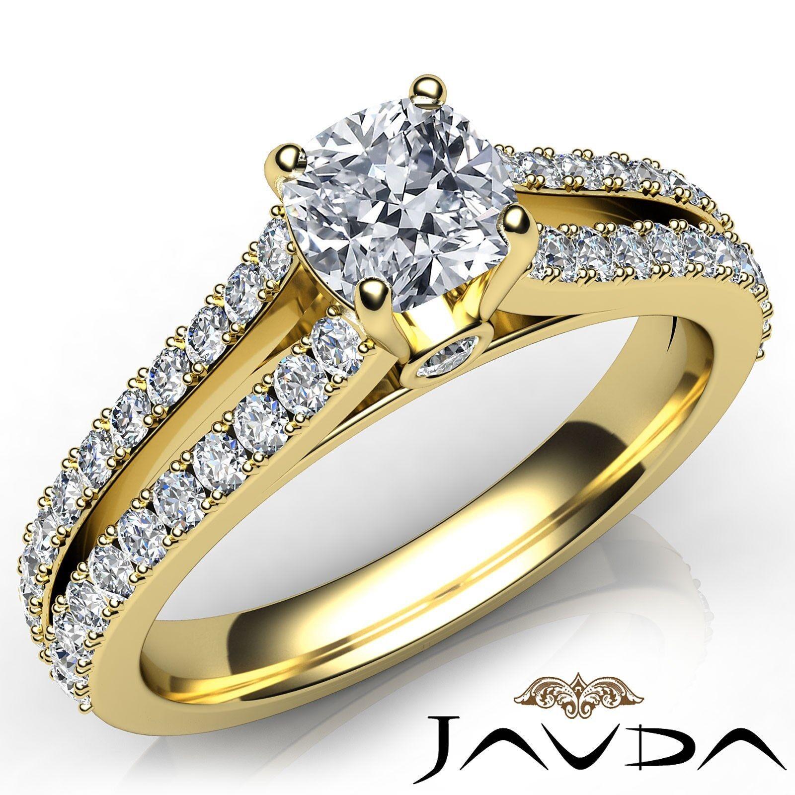 Split Shank French V Pave Cushion Cut Diamond Engagement Ring GIA G VVS2 1.15Ct