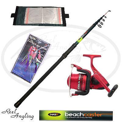 Sea Fishing Kit 12ft Beachcaster Telescopic Rod Ocean Master 70 Sea Reel NGT
