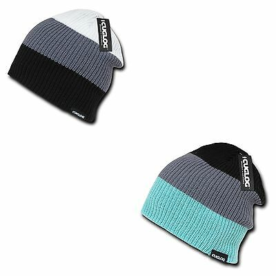 Cuglog Beanies Watch Striped Rib Knit 3 Tone Caps Ski Warm -