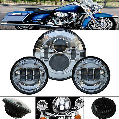 "For Harley Touring 7"" Chrome LED Projector Daymaker Headlight + Passing Lights"