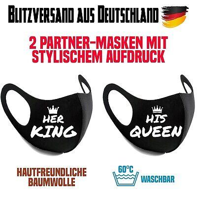 2 Partner Mundmasken Nasenmasken Fashion Mask King Queen waschbar Baumwollmix