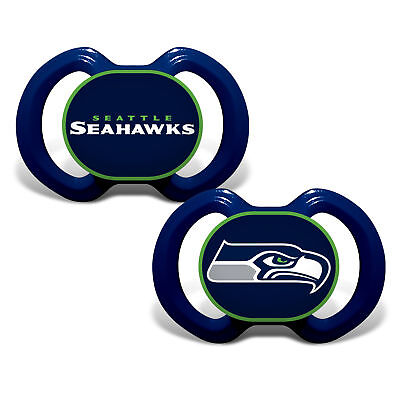 Seattle Seahawks Pacifiers 2 Pack Set Infant Baby Fanatic BPA Free NWT
