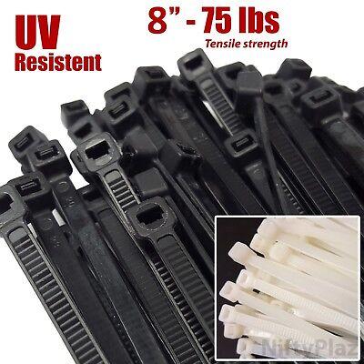 Niftyplaza 8 Inch Cable Ties Heavy Duty 75 Lbs Nylon Plastic Wrap Zip Ties
