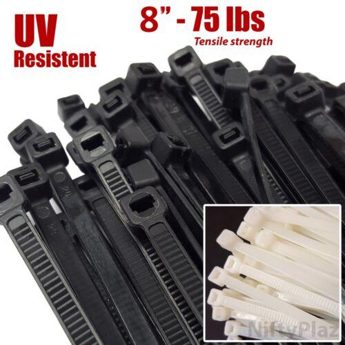NiftyPlaza 8 Inch Cable Ties, Heavy Duty, 75 lbs, Nylon Plastic Wrap Zip Ties