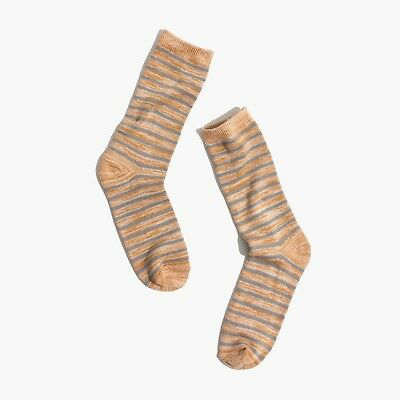 NWT Madewell by J CREW Women's Space-Dyed Stripe Trouser Socks egyptian gold