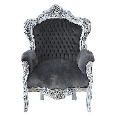Sonderpreis Preishit Sessel Klassiker in Grau und Silber Barocksessel Antik