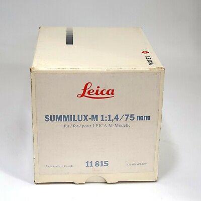 Leica summilux-m 1:1.4 75mm Empty Box (No Lens , Only Box)