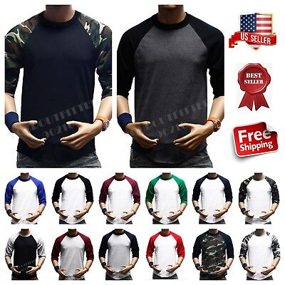 (Men's 3/4 Sleeve Baseball T- Shirt Raglan Tee Jersey Lot Plain Fashion Crew Neck)